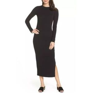 French Connection Black Knit Midi Dress